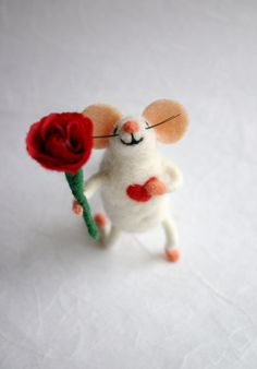 Felt mouse with flower Engagement gift mouse by HappyMouses