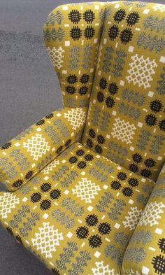 Vintage armchair reupholstered with mustard, black and white vintage Welsh tapestry Vintage Chairs, Vintage Textiles, Vintage Furniture, Vintage Armchair, Chair Upholstery, Chair Fabric, Upholstered Furniture, Parker Knoll Chair, Knoll Chairs