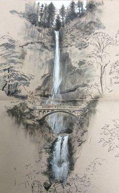 Landscape Pencil Drawings, Landscape Sketch, Pencil Art Drawings, Art Drawings Sketches, Landscape Art, Landscape Paintings, Bts Drawings, Fantasy Drawings, Realistic Drawings