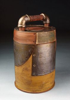 Andrew Massey industrial, steampunk pottery for sale at MudFire Gallery for clay