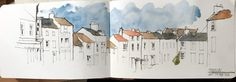 From my sketchbooks…. – A sketch of rooftops in Stokesley, glimpsed from the Town Hall window, where I was running a workshop for Leven Art Society. Watercolor Journal, Watercolor Sketch, Watercolor Paintings, Watercolours, Landscape Sketch, Landscape Drawings, Pastel Drawing, Painting & Drawing, John Harrison