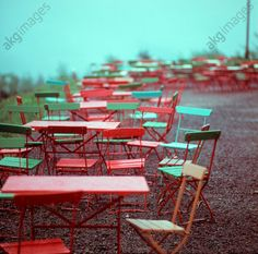 View of empty chairs in rain at the garden restaurant on top of a Thuringian mountain (Großer Inselsberg , . Akg, Outdoor Furniture Sets, Outdoor Decor, Retro Color, Germany, Restaurant, Garden, Empty, Chairs