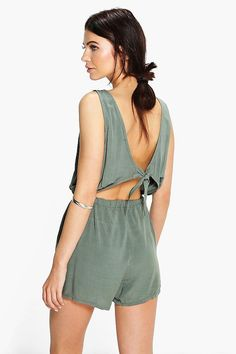42dff7f88330 Helen Tie Back Relaxed Fit Playsuit Overall Shorts