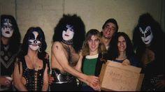 backstage shot,1975 w/ Alex Lifeson, Neil Peart, & Geddy Lee