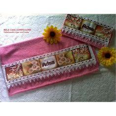 toalha de banho pintada a mão (kit com 03 peças)