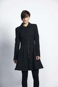 £90 Liquorish Black Flared Coat | Liquorish Clothing www.liquorishonline.com