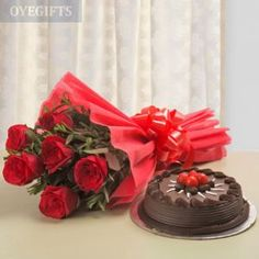 This combination of a 6 red rose bouquet with red Paper packing and a kg chocolate truffle cake is the perfect way to show your loved ones how much you love them.Send it through DP Saini Florist surprise him or her through this.