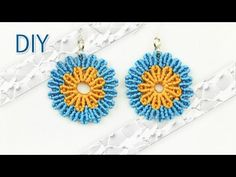 Round Macramé Flower Earrings Tutorial by Macrame School . DIY Round Macramé Flower Earrings - Boho Style Tutorial by Macrame School. Please watch more Macra. Tutorial Colar, Necklace Tutorial, Earring Tutorial, Flower Tutorial, Macrame Colar, Macrame Knots, Macrame Bracelets, Micro Macramé, Diy Earrings