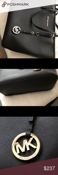 Michael Kors Very brand new, very gently use as it's saffiano leather so it's always almost never dirty or hardly any wear and tears, wore it just a few times for a school bag very great if you are a high school student or just for anything occasions selling it bc I'm just not a tote girl anymore doesn't wrk out so if interested comment below. All my bags are real as purchase in stores comes with dust bags and shopping bag if it wasn't real I wouldn't have those as listed!!!!! I have the the…