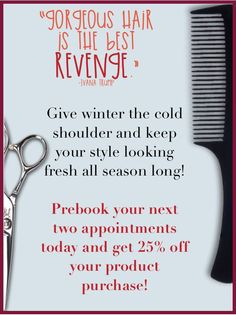 During December, pre-schedule your next two appointments with RED 7 SALON (into the New Year) and receive 25% OFF your retail purchases. A wonderful way to stock up on great holiday gifts for either yourself or someone you love AND keep your style looking fabulous thru the beginnings of 2015. Talk to your Stylist/Colorist to get date/time recommendations before they all book up!