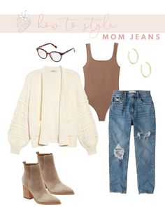 How to Wear Mom Jeans without Looking Frumpy | Strawberry Chic Best Friend Outfits, Mom Outfits, Fall Outfits, Casual Outfits, Cute Outfits, Fashion Outfits, Women's Fashion, Mom Jeans Style, Mom Jeans Outfit