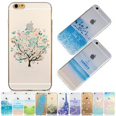 Lovely Mountain Beach Tower Landscape Daisy Pattern Case For iPhone 5s se 6 6s 5C Transparent Soft TPU Back Skin Phone Bag EC764