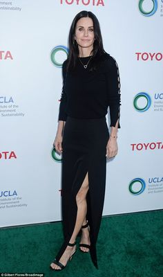 Just a hint of leg! Courteney Cox made an elegant arrival on the green carpet on Monday at the UCLA Institute of the Environment and Sustainability gala