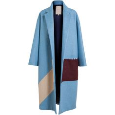 ROKSANDA ILINCIC Felted Wool Colour Block Coat (2,750 CAD) ❤ liked on Polyvore featuring outerwear, coats, coats & jackets, jackets, felted wool coat, colorblock coat, long sleeve coat, roksanda ilincic and color block coat