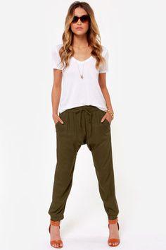 Obey Outsider Olive Green Harem Pants at Lulus.com!