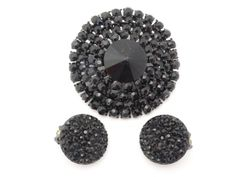 Weiss Black rhinestone mourning brooch and clip on earring set