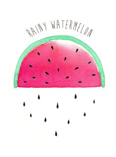 {Aquarelle }  Rainy watermelon