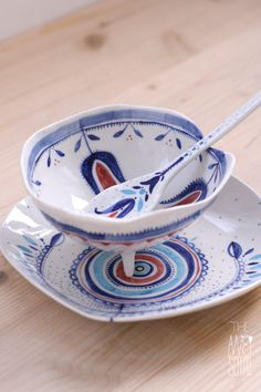 Romanian folklore inspired unique porcelain bowl | plate | spoon by Madalina Andronic - underglaze decoration + dishwasher safe
