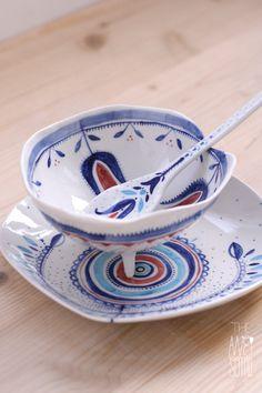 The Awesome project unique porcelain bowl   plate   spoon  underglaze decoration + dishwasher safe