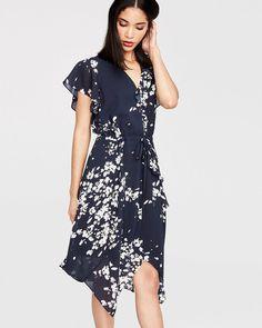 RACHEL ROY Mix Ruffle Dress - Navy Combo. #rachelroy #cloth # Ruffle Dress, Dress Up, Rachel Roy, Day Dresses, Cold Shoulder Dress, Short Sleeve Dresses, Work Clothes, Spring, Casual