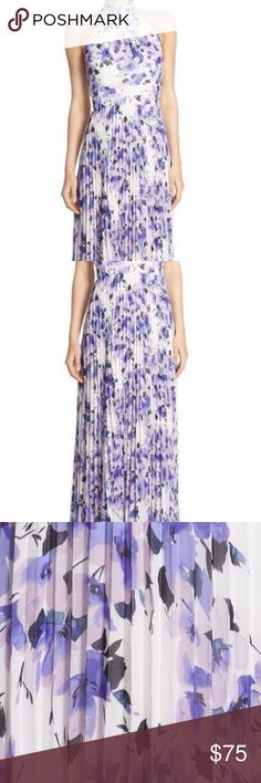 NWOT Eliza J Floral Chiffon Halter Maxi Dress Only worn once, bought last Spring at Nordstrom. Purple floral print - chiffon with pleats, fit and flare maxi dress. Back zip with halter tie neck, fully lined. Eliza J Dresses Maxi