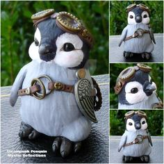 Baby Steampunk Penguin by MysticReflections on DeviantArt Polymer Clay Steampunk, Cute Polymer Clay, Polymer Clay Animals, Cute Clay, Polymer Clay Crafts, Penguin Art, Penguin Love, Cute Penguins, Adventure Time Wallpaper