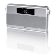 Geneva WorldRadio Portable HiFi System with FM Clock Radio, Bluetooth (Silver) Digital Radio, Digital Alarm Clock, Geneva Sound, World Radio, Cool Electronics, Consumer Electronics, Bed And Breakfast, Industrial Design, Minimalism