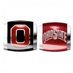 """Teagan Collegiate Collection Bead: Ohio State University Combo set. This bundle contains two Ohio State University Beads:     OSU3 Red O on Black Bead     OSU4 Ohio State Arch Bead  Beads are 925 Silver and Enamel. These are """"Teagan"""" beads and they are compatible with Pandora, Biagi, Zable, Brighton, Troll and many other European style bracelets."""