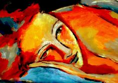 """""""""""Lost in dreams"""""""" by Helena Wierzbicki, Buenos Aires // Contemporary Fine Art. Colorful Expressionist Portrait of a woman. Original panting - Acrylic on canvas. Fine Art Prints. // Imagekind.com -- Buy stunning, museum-quality fine art prints, framed prints, and canvas prints directly from independent working artists and photographers."""