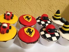 Cupcake Ferrari Fondant Toppers, Fondant Cupcakes, Cupcake Toppers, Car Cupcakes, Ferrari Cake, Ferrari Party, Cars Birthday Parties, Birthday Celebration, Motocross Cake