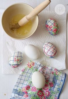 Easter eggs decorated with napkins!