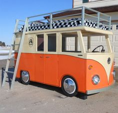 This bunk bed on Instructables is so cute that I just had to share it. The volksie bus loft bed has a single bed on top of the bus and plenty of room to play inside. You can buy all the materials you need for this project at your local Builders Warehouse. http://www.home-dzine.co.za/diy/diy-volksie.htm