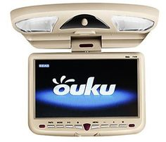 Convenient Ouku 9 Inch Roof Mount Car DVD Player With Wireless Game Swivel Free Headphones 350 degree rotating---For added comfort and convenience to all in the car.. Video System---Support PAL/NTSC Auto Switch. Slot-in DVD player, with SD / USB Port, with 32 Bit GAME. Support wireless infrared earphone or FM transmitter.  #GADGETS-R-US #CarAudioOrTheater