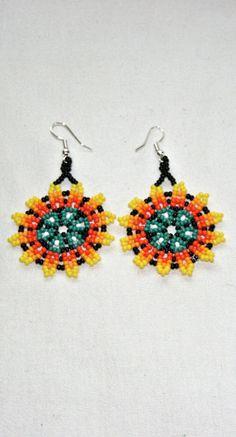 Native American Peyote Flower Sun Earrings Huichol Jewelry Beadwork Beaded Earrings for Good Luck Health Success Mexican Earrings Handmade
