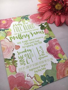Watercolor Baby Shower Invitation  A Baby is Blooming