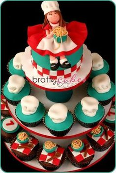 Pasta Party Cupcake Tower by Natty-Cakes by cristina