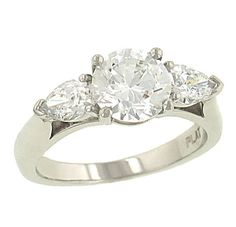 Ladies 3 Stone Engagement Ring with 2 Side Pear Shaped Diamonds .78cttw (center Stone Not Included). Perfect Twogether