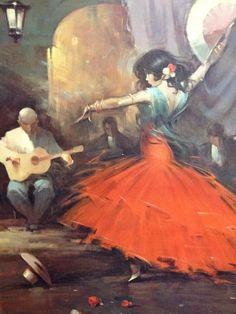 """Flamenco 1960's Latin American Cuban Guitar """"Lady In Red"""" Dancing Oil Painting"""