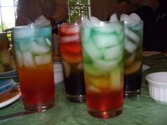 VERY COLORFUL DRINKS.