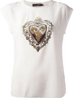 DOLCE and GABBANA Emblem Heart Print T-Shirt