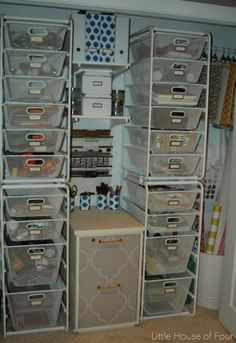 An organized craft closet doesn't have to cost a fortune. The Ikea ALGOT system is the perfect alternative to the expensive ALFA system from the container Store.