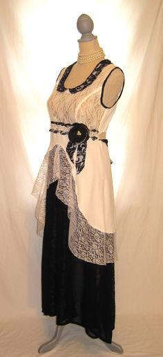 Black and white wedding dress lace bridal shower by 777DressCode, $96.75