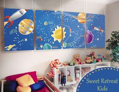 My son is really into rocket ships and this idea would be great in his room. And when he tires of it easy to remove.