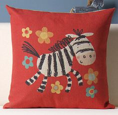 Decorative Throw Pillow Case-Designed Pillow Cover-Linen Cotton Cushion Case-Sofa Pillow Case-Children Cartoon Pillow Case-Little Zebra