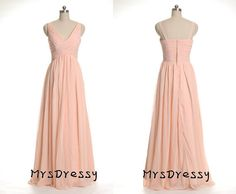 Blush Colored Vneck Open Back Bridesmaid Dress, Peach pleated long bridesmaid dress by Marrysoon, $122