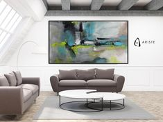 This extra large panoramic wall art will beautifully complement an interior with blue or white decor elements. Horizontal composition and size make it perfect addition for a living room, bedroom, or dining room. This item is fully handmade, painted with acrylic paints on canvas, varnished, signed