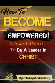 Just 6 Powerful Words that will take you from a passive Christian to an empowered Christian who desires to live a Godly life!  These 6 words spoken from the heart will empower you to receive God's blessings not because you spoke them but because you desire to live God's will.  It's this place in a Christian's heart that allows God's blessings to become a reality.    http://victorythruchrist.org/6-powerful-words/