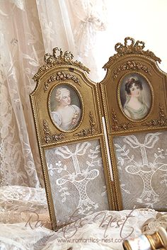 2 or 3 panel screendoor frame. Idea - use cardboard, cut panels, paint gold, get pretty vintage lady pictures, lace scraps and glue. Hinges - use ribbon ties.