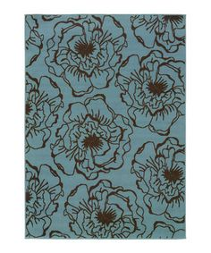 Loving this Blue & Brown Modish Blossom Hyrcania Indoor/Outdoor Rug on #zulily! #zulilyfinds