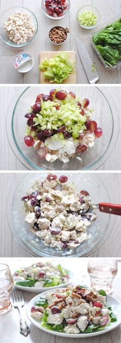 Chicken salad with greek yogurt - Looks like this will be great for calorie counting :)